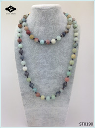 Wholesale Semi Precious Stone Chains - ST0190 32 inches Long Necklace Knotted Stone Amazonite Jasper Unakite Semi Precious Stone Necklace for women