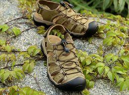 Wholesale Cowhide Heels - Big size 37- 48 49 47 46 mens sandals Genuine leather cowhide sandals outdoor casual shoes men summer beach foot reflexology