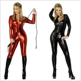 Wholesale Catsuit Zip - Wholesale-Details about Superior quality!! Metallic Lycra Zentai Spandex Catsuit Costume Front Zip free shipping