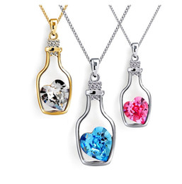 Wholesale Aroma Pendants Heart - Wishing Bottle Mosaic Crystal Heart Aroma Perfume Pendant Modern Necklace Jewelry Women Girls Charm Necklace Silver Plating Jewelry ZA0032