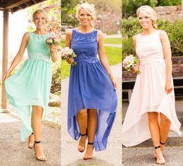 Wholesale High Low Mint Dresses - Vestidos De Festa 2016 Mint Green Bridesmaid Dresses High Low V Back Lace Chiffon Junior Bridesmaid Dresses Long Wedding Guest Dresses