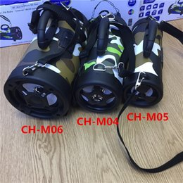 Wholesale Super Light Phone - NEW CH-M04 Bluetooth speaker LED flashing lights camouflage wireless portable mini stereo super brass FM radio TF USB