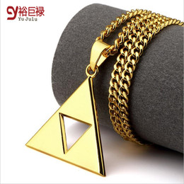 Wholesale Triangle Necklace Pendant Men - 2016New Fashion Personality Europe Hip Hop 18k Gold Chain Necklace Hollow Triangle Necklace Jewelry Necklace Gift for Men Women