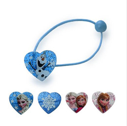 Wholesale Animal Shape Rubber Band - 1 pair Elsa Anna Head Rope Hair Band Headwear Heart-shaped Female Girls Babys Hair Accessory Hairpin Christmas Gift