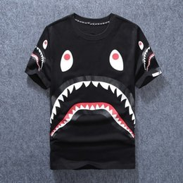 Wholesale Round Mouth - 2017 HOT SALE New Men's Clothing Wear Shark Mouth Printing t shirts for Men Round Neck Short t-shirt fashion tshirts brands