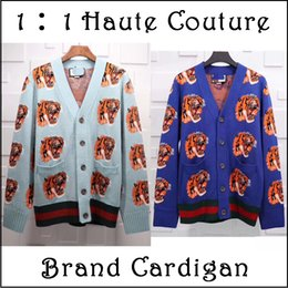 Wholesale Cardigans Sweaters For Men - Ooops!! 2018 Branded GC Tiger Double-side Jacquard 100% Wool Cardigan for men Sweaters Men's Cashmere Designers Long Sleeved V neck S-XL