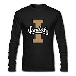 Wholesale University T Shirt Xl - 2018 Congjun Shen diy Men's Long Sleeve Crewneck Slim Fit University of Idaho Vandals logo Print Casual T Shirt XX Large Black