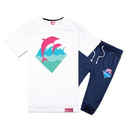 Wholesale Men Suit Black White Fashion - Pink dolphin short-sleeved pant suit cotton t shirts short set men's casual O-neck letter design t-shirts set,fashion cotton tops