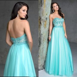 Wholesale Lilac Aqua Dresses - Stunning 2016 Aqua Blue Prom Dress Long Formal Strapless Evening Gown Sweetheart Neck Beaded Sequins Lace Appliques Bodice Sexy Low Back