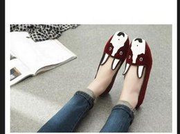 Wholesale Dog Velvet Shoes - free hk post~u301 3 colors genuine leather velvet dog flats shoes