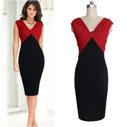 Wholesale Red Color Block Bodycon Dress - Hot Selling Celebrities Same Sytle Elegant Women Fashion Dresses Black and Red V-neck Sleeveless Color Blocking Slim Pencil Dress
