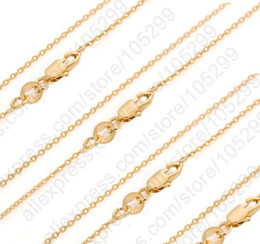 Wholesale Solid Gold Jewelry Wholesalers - Bulk 10PCS 30 Inch 18K Solid Yellow Gold Filled Jewelry Rolo Link Necklace Chains + Lobster Clasps For Pendant 18K-GF Tag Marked