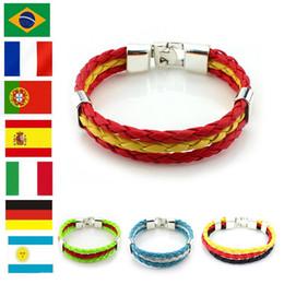 Wholesale Wholesale Soccer Flags - New World Cup Couple Woven Charm Bracelets Creative bracelet the World Flags Bracelet For fashion Soccer fans wristband accessories