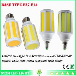 Wholesale E27 Led Corn Natural White - E27 E14 12W cob corn lamp Energy Saving 220V 360 Degree Spot Light LED cob bulb warm white natural white cool white spotlight