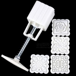 Wholesale Cake Mould Set - New Arrive 4 Patterns Square Moon cake Fondant Sugarcraft Decorating Cookies Mold Mould Baking Tool Set