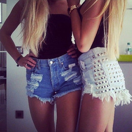 Wholesale High Waisted Denim Shorts Fashion - Summer style 2015 new fashion women sexy denim shorts Vintage Rivet High Waisted Short Jeans plus size