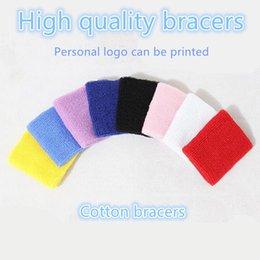 Wholesale Sweatband Logo - 10 Pieces Start Sale 100percent Cotton Made Elastic Wrist Bracers Sweatbands Sporting Outdoor Accessory Personal Customized Logo