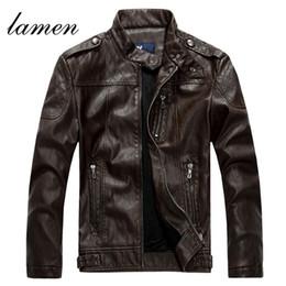 Wholesale Leather Jacket Wool Collar Men - Fall-2016 Men's Sheepskin washed Leather Jacket Fur Stand Collar PU Motorcycle Jaqueta Masculinas Inverno Couro Winter Jacket Men