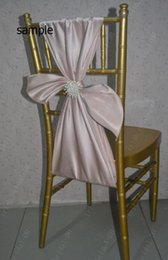 Wholesale Navy Satin Chair Sashes - 2015 Satin Pearls Romantic Beautiful Chair Sash Sample G04