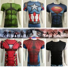 Wholesale Super Hero Clothes - Hot Sale 2016 New Men Sport Fitness Compression T-Shirt Super Hero Captain American Iron Man Short Sleeve Quick-dry Gym Clothing