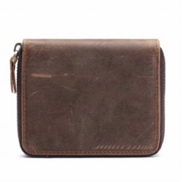 Wholesale Cheap Passport Cases - New Men's Genuine Leather Brown vertical Wallet Short Zipper Coin Purse Bifold Money Case Cheap case samsung galaxy pocket