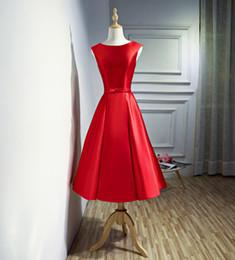 vestidos de dama de honra do transporte rápido Desconto Pescoço da colher de cetim da dama de honra vestidos de vermelho 2020 na altura do joelho vestido de festa simples vestido de noite transporte rápido