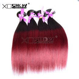 Wholesale Beauty Queen Peruvian Hair - Queen wave beauty whole sale good remy human hair extension 5pcs 100g straight brazilian ombre weave 1b 99j color 10-30inch in stock sale