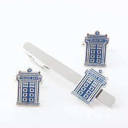 Wholesale Police Clip - New Arrival Cuff Link and Tie Clip Sets Men's Jewelry Doctor Who Blue Police Box Metal Cuff Link and Tie Clip Set Movie Jewelry
