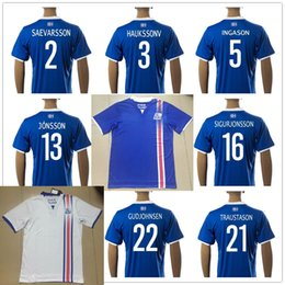 Wholesale Mens Soccer Shirts - Wholesale Iceland Soccer Jersey 2017 Home Blue Away White Top Quality Mens Uniform Customize Any Name Number Sports Football Shirt