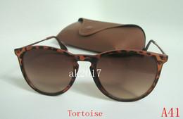 1 par gafas de sol para mujer de alta calidad Erika Eyewear gafas de sol del diseñador tortuga marco marrón 52 mm lente vienen con caja de Brown desde fabricantes