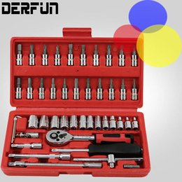 "Wholesale combination spanner wrench - High Quality 46pcs Spanner Socket Set 1 4"" Car Repair Tool Ratchet Wrench Set Cr-v hand tools Combination Bit Set Tool Kit"