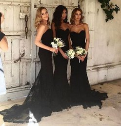 2019 vestidos longos pretos da dama de honra do querido Elegante Querida Sereia Preta Longo Da Dama de Honra Vestidos Lace Maid of the Honor Vestidos Vestido Longos Vestidos de Noite Vestido de Baile Para O Casamento vestidos longos pretos da dama de honra do querido barato