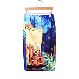 Wholesale Ladies Classic Clothing - Western classic painting print women middle skirts 2016 vogue lady faldas girls 2016 fashion summer clothing mix order factory wholesale