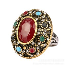 Wholesale Vintage Turquoise Engagement Rings - Vintage Resin Imitation Oval Disc shape Onyx emerald ring Cabochon Gem Big Surface black red agate jade ring Turquoise Rings for women j240