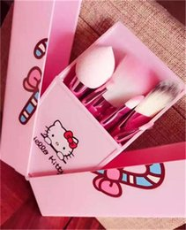Wholesale Brush Outlet - In Stock !!! Hello Kitty 8 Jian Makeup Brush set professional Makeup tools portable storage box full set of factory outlet DHL Free shipping