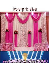 Wholesale Swag Beads - 2016 NEW 3m*6m wedding backdrop swag Party Curtain Celebration Stage Performance Background Drape With Beads Sequins Edge MYY