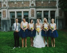 Wholesale Cheap White Tutu Dresses - Cheap Navy Blue Bridesmaid Dresses Short Prom Party Dresses Under $100 Tutu Skirt Tulle Ball Gown Robe Demoiselle D'honneur