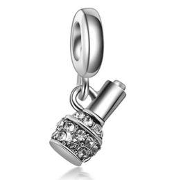 Wholesale Pandora Bottle Charm - 10pcs Silver Enamel Crystal Nail Polish Bottle Pendant European Charm Beads Fit Pandora Style Bracelet Necklace Pendant DIY Original Jewelry