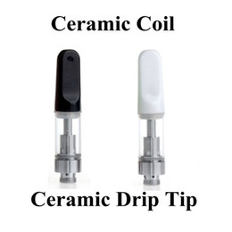 Wholesale Vape Tips - Ceramic CCELL Cartridge Pyrex Glass Vaporizer Ceramic Drip Tip 510 Threat Atomizer Wickless Coil Tank for CE3 BUD Vape Batteries