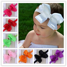 Wholesale Hair Bow Photography - Infant Bow Headbands Girl Flower Headband Children Hair Accessories Newborn Bowknot Flower Hairbands Baby Photography Props 16colors 20pcs