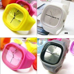 Wholesale High Quality Quartz Silicone - 13colors DHL UPS Free Shipping high quality silicone square jelly watch Silicone Quartz sport Wrist Watch 13colours With ss.com