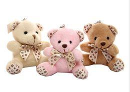 Wholesale Teddy Bears Small Size - Cartoon Teddy Bear Small Size Mobile Phone Bag Key Buckle Pendant For Wedding Party Present Plush & Stuffed Toys