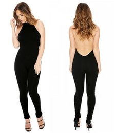 Wholesale Coverall Romper - Halter Backless Jumpsuit Womens Romper Sexy Siamese Trousers European And American Fashion Style Coverall QH2215