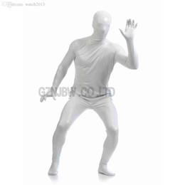 Wholesale Leather Men S Catsuit - Wholesale-Adult Mens Faux Leather Metallic White Bright Full Skin Zentai Cosplay Costume Halloween Suit Bodysuit Unitard leotard