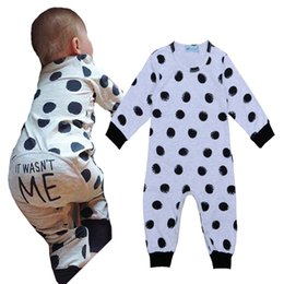 Wholesale Retail Jumpsuits - Retail 2016 New Fashion Girl Boy Polka Dot Romper Newborn Jumpsuits&Rompers Baby Clothes It Wasn't Me Letter Pattern Boys Girls Bodysuit