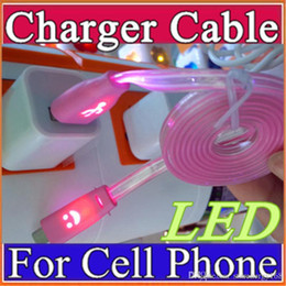 Wholesale Moblie Phone Charge - 1M USB LED Light Cable Sync Data Charge Charging Cable Cord for glowing Moblie phone Micro USB Cable Samsung htc huawei U-SJ