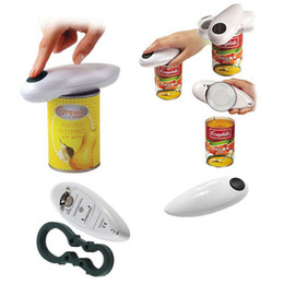 Wholesale Tin Can Bottle Opener - new Automatic Electric Can Tin Jar Wine Bottle Opener Battery Operated Hands Touch White kitchen gadgets abridor de garrafa
