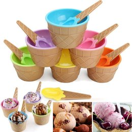 Wholesale dessert cups - Plastic Ice Cream Bowls with Spoons Kids Cute Durable Dessert Cup Ice cream Cup 6 Colors OOA2433