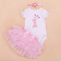 Wholesale Headband Tulle - baby girl infant toddler 3piece outfits lace Crown Number 1 birthday cupcake romper onesies pajamas + tulle tutu skirt + headband 4sets