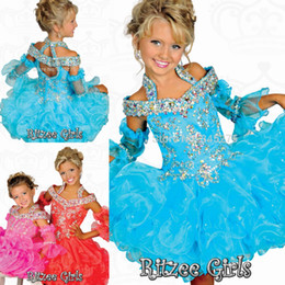 Wholesale Infant Pageant Dresses Sleeves - 2016 Blue Ritzee Girls baby infant cupcake toddler glitz pageant dresses for little girls crystal halter straps Kids Birthday Dresses